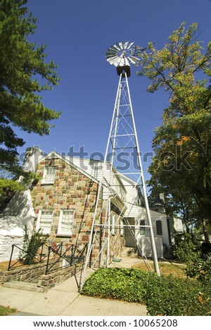 the presidents house and windmill at Eisenhower National Historic Site in Gettysburg, PA - stock photo