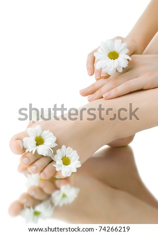 the pretty female legs with fowers, on white background, isolated, close up - stock photo