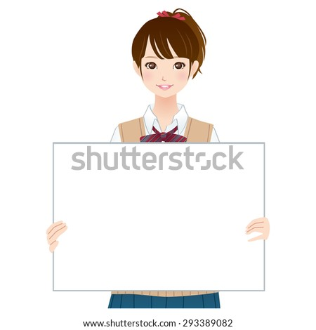 "the pretty High school girl ""white board"" - stock photo"