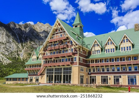 The Prince of Wales Hotel at Waterton Lakes National Park in Alberta, Canada. - stock photo