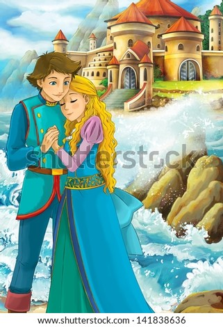The princesses - castles - knights and fairies - Beautiful Manga Girl - illustration for the children - stock photo