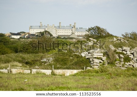 The prison and young offenders unit on the Isle of Portland, Dorset. Convicts at the Victorian jail used to have to quarry rocks of the prized Portland stone.