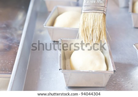 the process of baking breads at home - stock photo