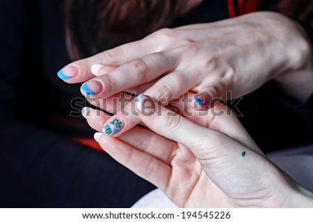 The process of creating a manicure salon spa closeup shot - stock photo