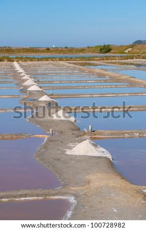 The production of Grey Sea Salt on the Ile de R�©, France - stock photo