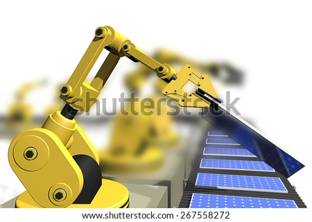 The production of solar panels - stock photo