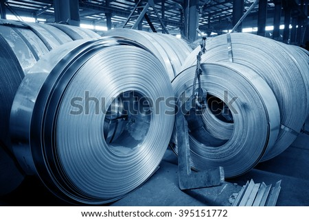 The production of zinc-coated steel mill. - stock photo
