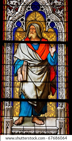 The Prophet Jeremiah on a stained glass window in the Dom of Cologne, Germany. - stock photo