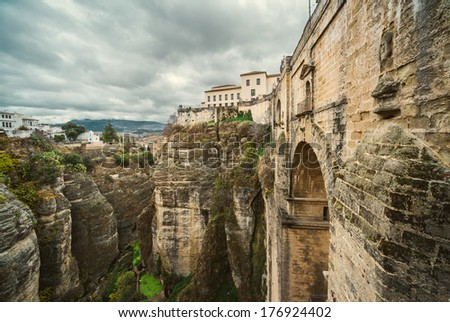 The Puente Nuevo bridge and Picturesque view of Ronda city. Province of Malaga, Andalusia, Spain
