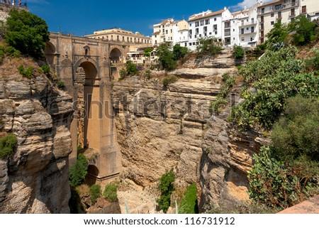 The Puente Nuevo bridge in Ronda, Spain - stock photo