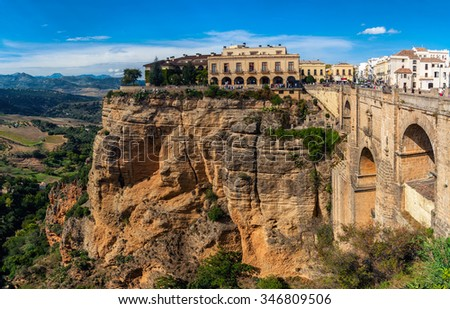 The Puente Nuevo New Bridge over Guadalevin River in Ronda, Andalusia ...