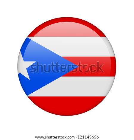The Puerto Rico flag in the form of a glossy icon. - stock photo