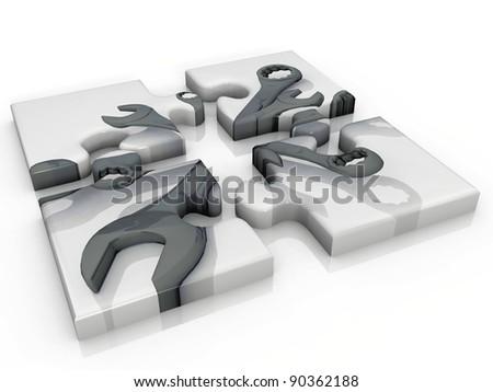 the puzzle key of work - stock photo
