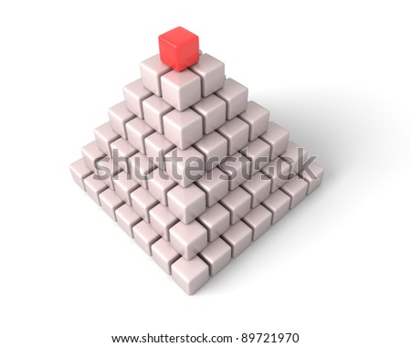 The pyramid is combined from cubes. The image on a blue background.