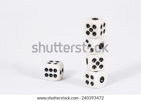 The pyramid of dice/ Dice on white background - stock photo
