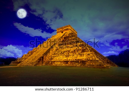 The pyramid of Kukulcan at Chichen Itza at full moon - stock photo