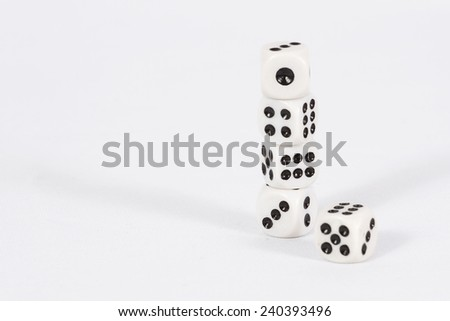The pyramid of the dice on the right/ Dice on white background - stock photo