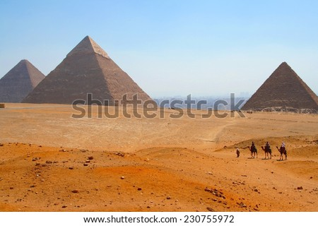 The pyramids of giza at early evening, egypt