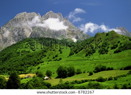 The pyrenees on the france spain border view from pass between spain and france. The cirque de lescun. - stock photo