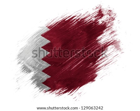 The Qatari flag painted with brush on white background