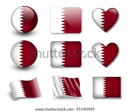 The Qatari flag - set of icons and flags. glossy and matte on a white background. - stock photo