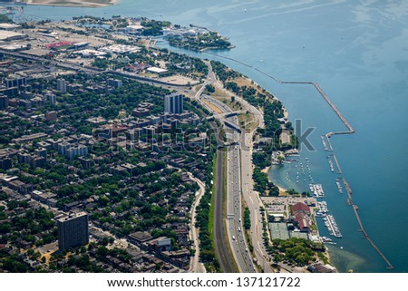 The QEW running along lake Ontario in Toronto, Canada. - stock photo