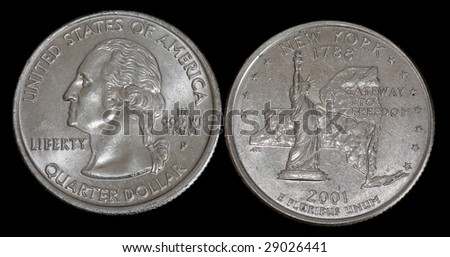 The quarter dollar from New York - stock photo
