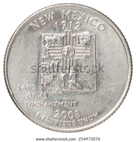 The quarter dollar from the state of New Mexico on a white background - stock photo