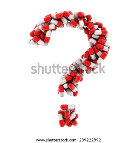 The question mark of the medications. Red medications. 3D. - stock photo