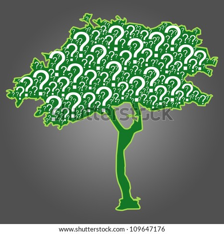 The Question Tree With Gray Background - stock photo