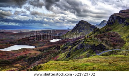 The Quiraing: rain and wind to october evening. Northeast coast of Trotternish Peninsula, Isle of Skye, Inner Hebrides, Scotland, United Kingdom, Europe.