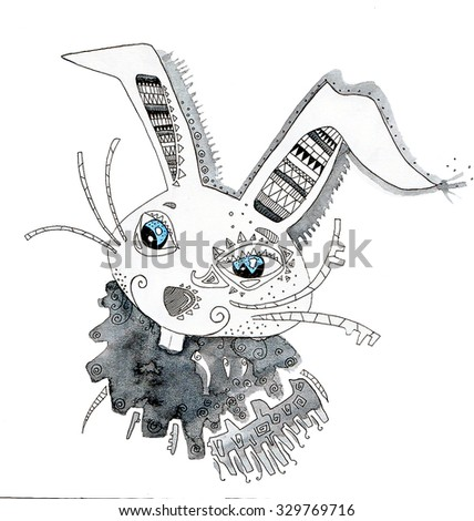 the rabbit of the china horoscope of the year hand drawing outline ethnic style isolated on the white background - stock photo