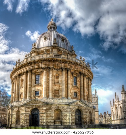 The Radcliffe Camera at Oxford UK. A Palladian-style academic library and reading rooms, designed by James Gibbs. South side view. - stock photo