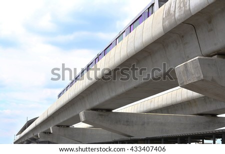 The railroad tracks and skytrain with blue and cloud sky background