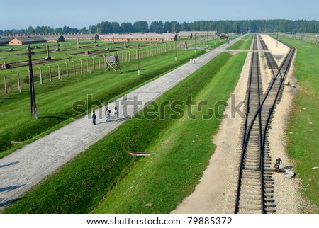 The railroadtracks in concentrationcamp Auschwitz Birkenau, left the womencamp