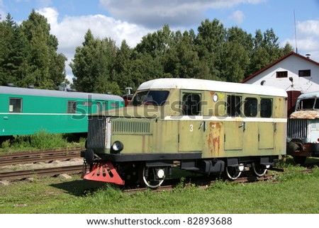 The railway car for transportation  of workers in career