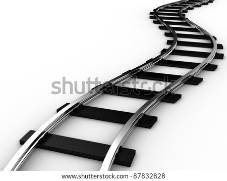The railway for a train on a white background - stock photo