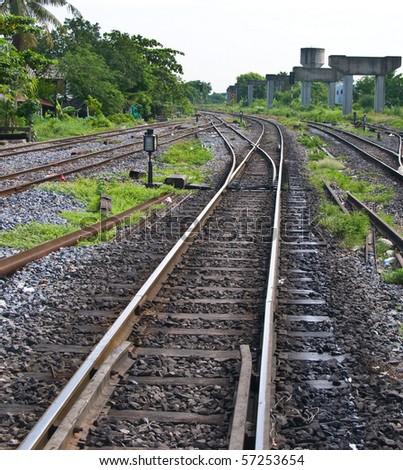 The Railway track at bang sue station,bangkok,Thailand - stock photo