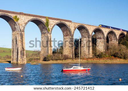 The 1908 railway viaduct at St Germans Cornwall England UK Europe - stock photo