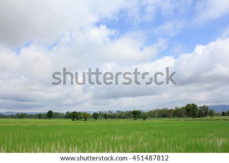 The rain clouds,blue sky and there are mountains and green fields below.
