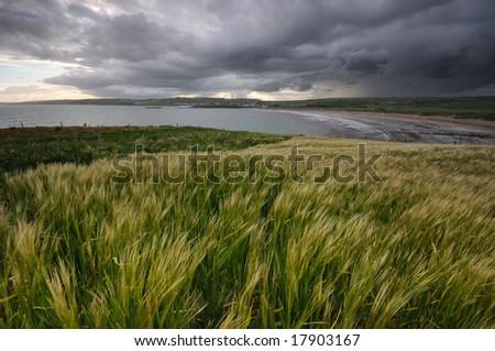 The raining time in Ireland - stock photo
