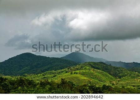 The rainy season on the island of Phuket in Thailand. - stock photo