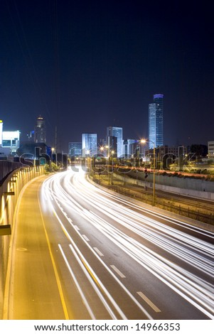 The Ramat Gan city, Ayalon freeway - stock photo