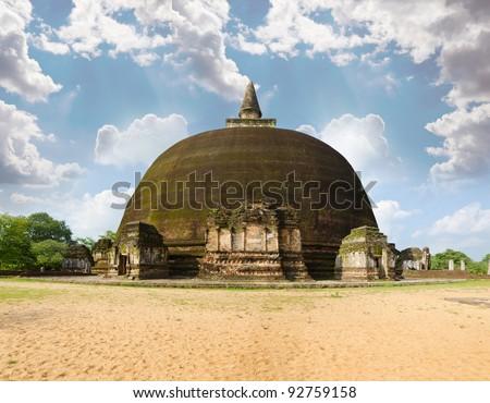 The Rankot Vihara or the Golden Pinnacle Dagoba in Polonnaruwa, 12th century - stock photo