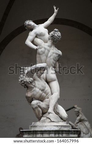 The Rape of Sabine Women, 16th century sculpture by Giambologna in Florence, Italy - stock photo