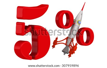 The rapid growth of 5 percent. Red 5 percent with rocket. Isolated on white background