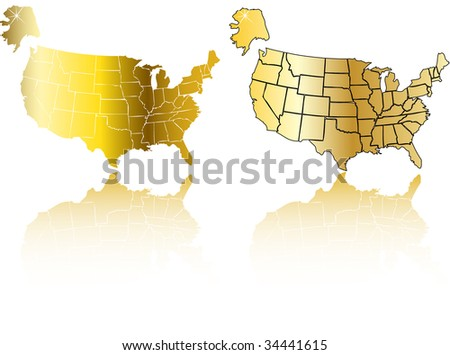 the raster gold usa map set (vector version in portfolio) - stock photo