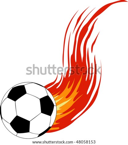 the raster soccer ball with fire (vector version in portfolio) - stock photo