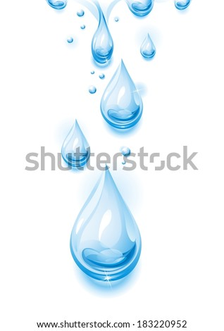 The raster version drops of pure, transparent water. - stock photo