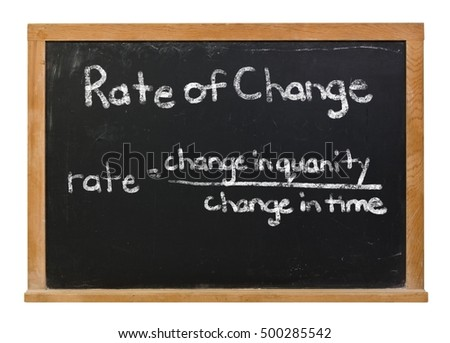 The rate of change formula written in white chalk on a black chalkboard isolated on white
